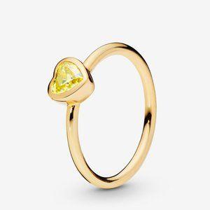 Pandora Yellow Stone Heart Ring